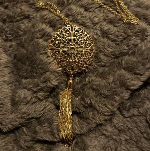 Ornate Gold Tassel Necklace
